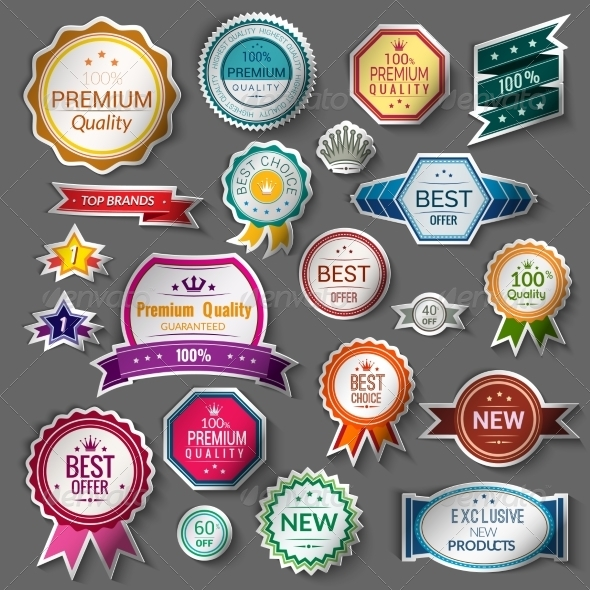 GraphicRiver Color Sale Stickers Set 8749425