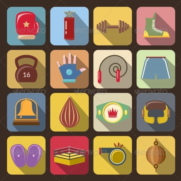 GraphicRiver Box Fight Icons 8749451