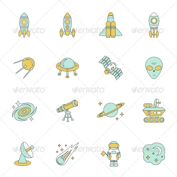 GraphicRiver Space Line Icons Set 8749480