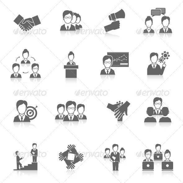 GraphicRiver Teamwork Icons Black 8749482