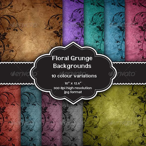 GraphicRiver Floral Grunge Background Set 8749762