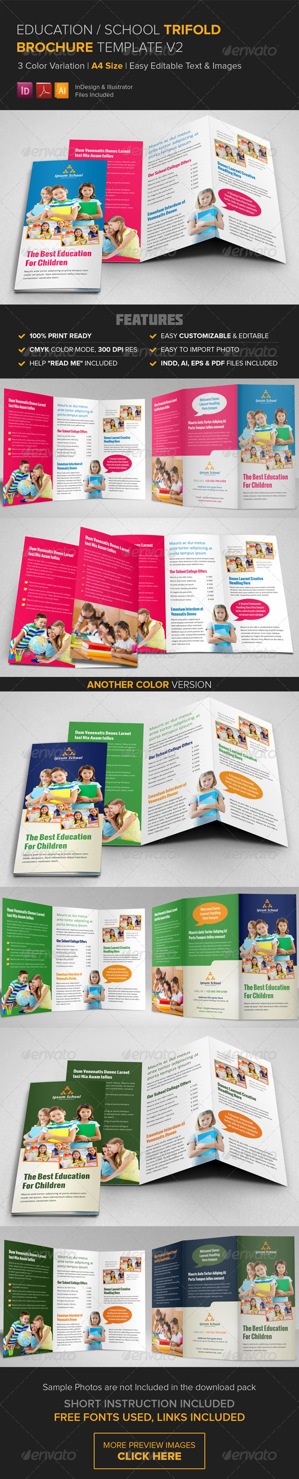 GraphicRiver Education School Trifold Brochure Template v2 8750511