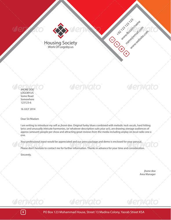 Stylish Housing Society Letterhead By Shujaktk