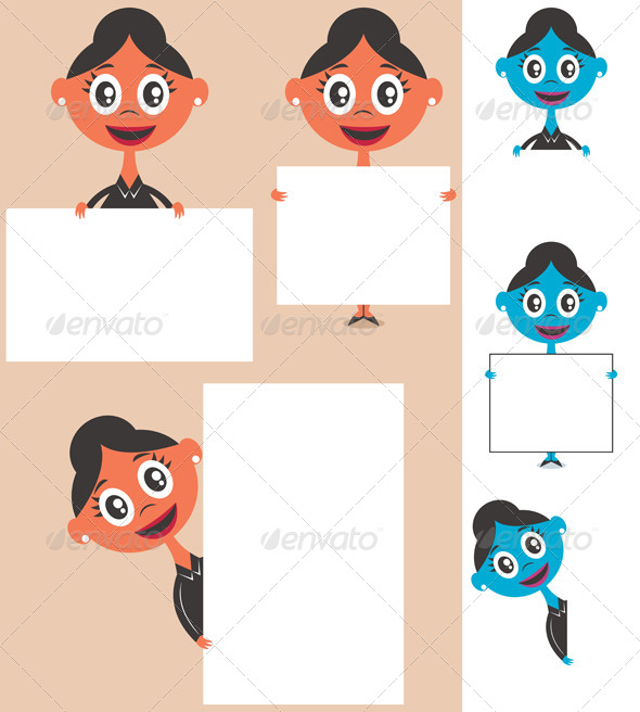 GraphicRiver Businesswoman Behind Sign 8750770