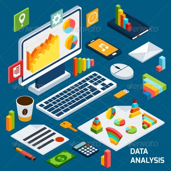 GraphicRiver Isometric Data Analysis Set 8751561