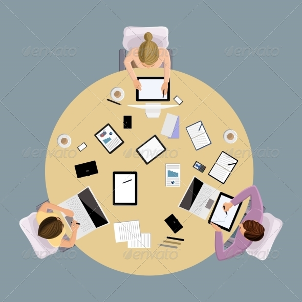 GraphicRiver Brainstorming People Top View 8751590