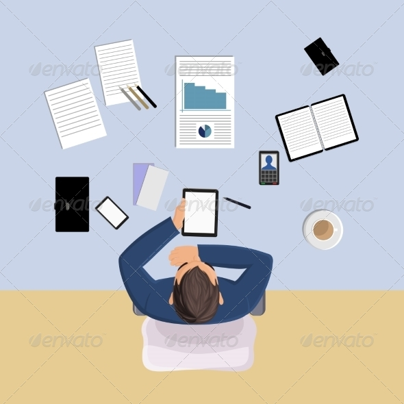 GraphicRiver Office Worker Top View 8751593