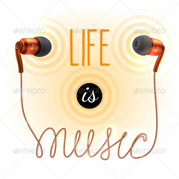GraphicRiver Headphones with Music Letters 8751605