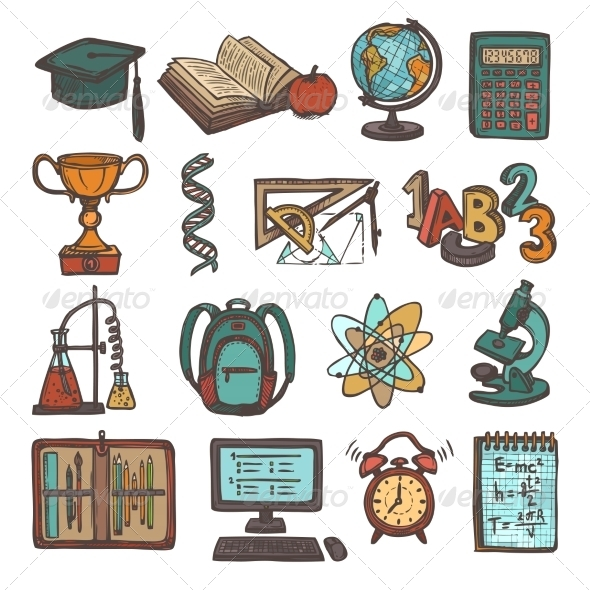 GraphicRiver School Education Sketch Icons 8751609