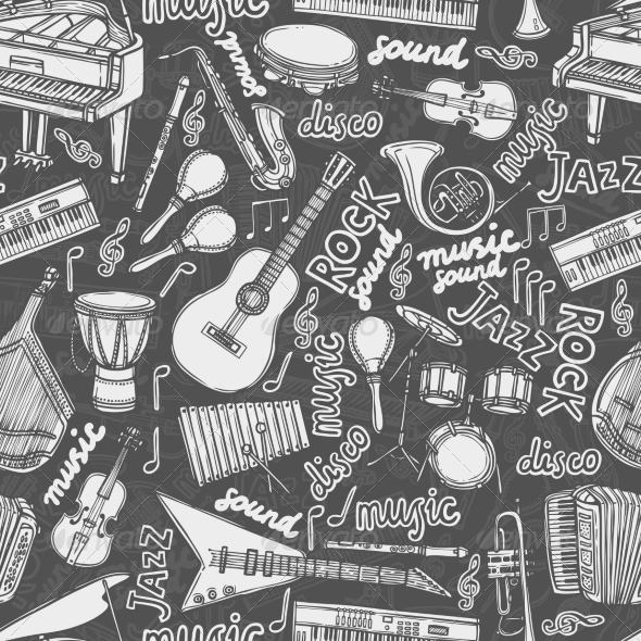 GraphicRiver Musical Instruments Sketch Seamless Pattern 8751618