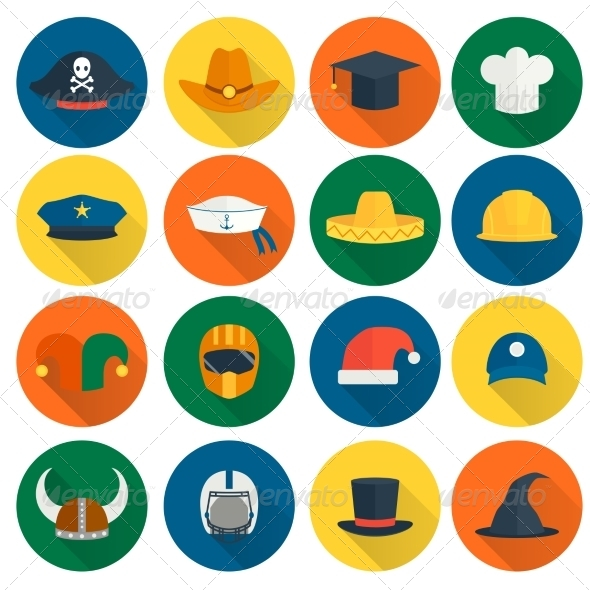 GraphicRiver Hat Flat Icons 8751646