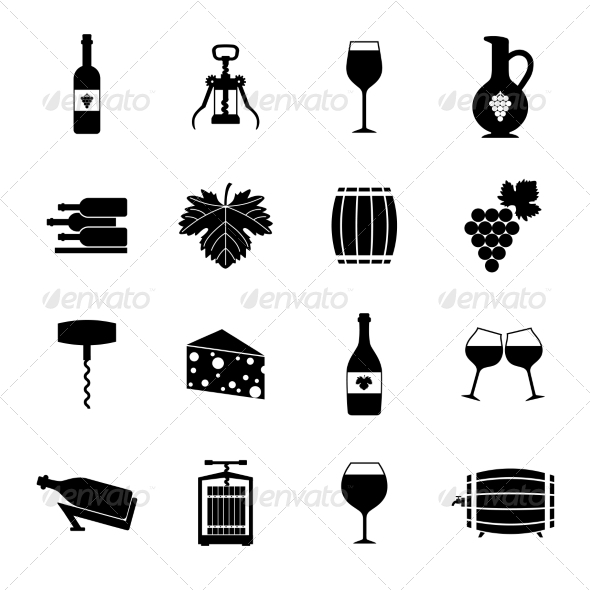 GraphicRiver Wine icons set black 8751655