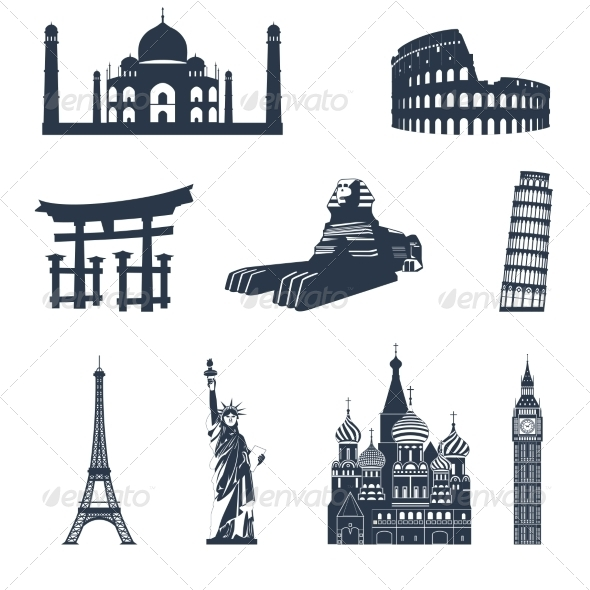 GraphicRiver World Famous Landmarks Black 8751661