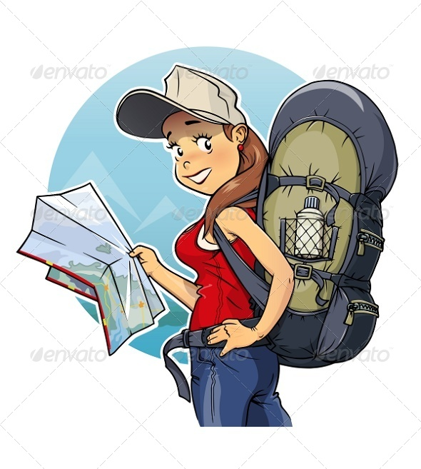 GraphicRiver Tourist Girl with Rucksack and Map 8751856