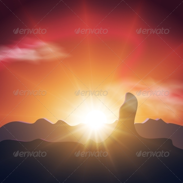 GraphicRiver Beautiful Sunset in the Mountains Orange Sky 8751917