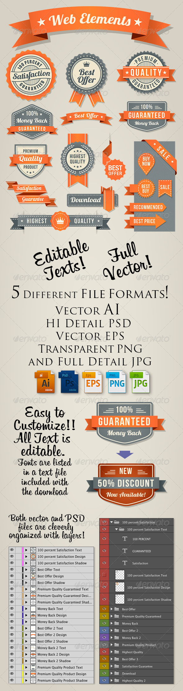 GraphicRiver Orange-Black Web Elements Set 8751920