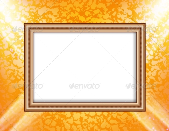 GraphicRiver Blank Frame on a Colored Wall Lighting Spotlights 8752000