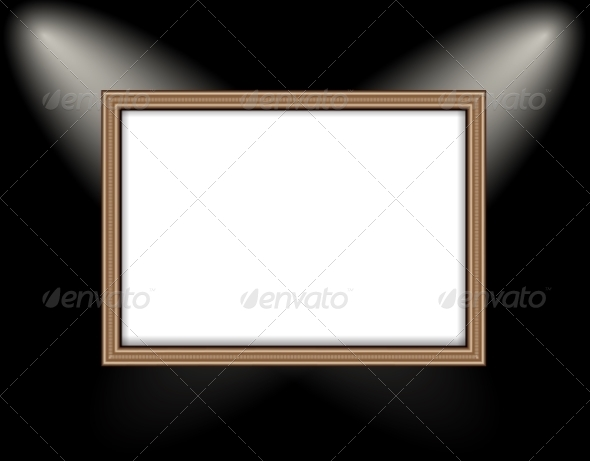 GraphicRiver Blank Frame on a Black Wall Lighting Spotlights 8752003