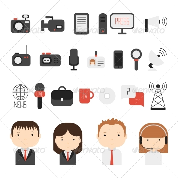 GraphicRiver Set of Flat Colorful Journalism Icons 8752116