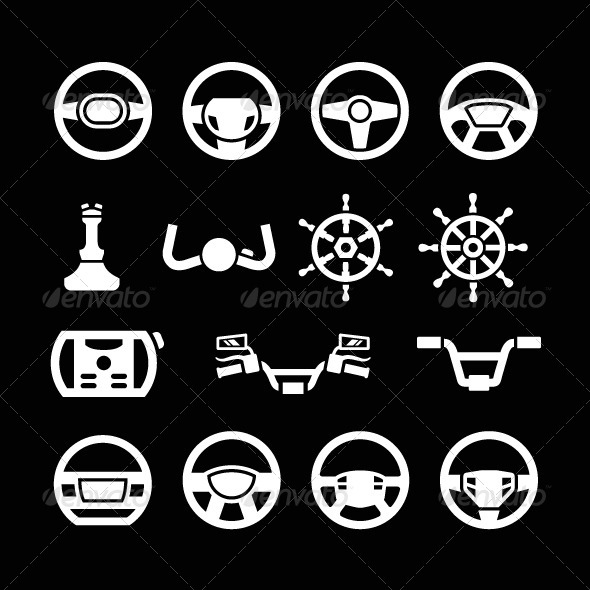 GraphicRiver Set Icons of Steering Wheel Marine Steering 8752133