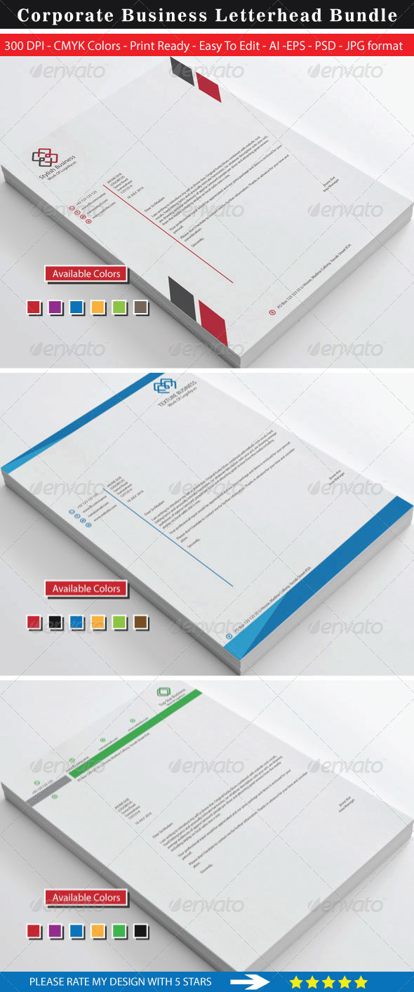 GraphicRiver Clean Stylish Business Letterhead Bundle 8752226