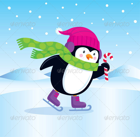 GraphicRiver Ice Skating Penguin with Candy Cane 8752289