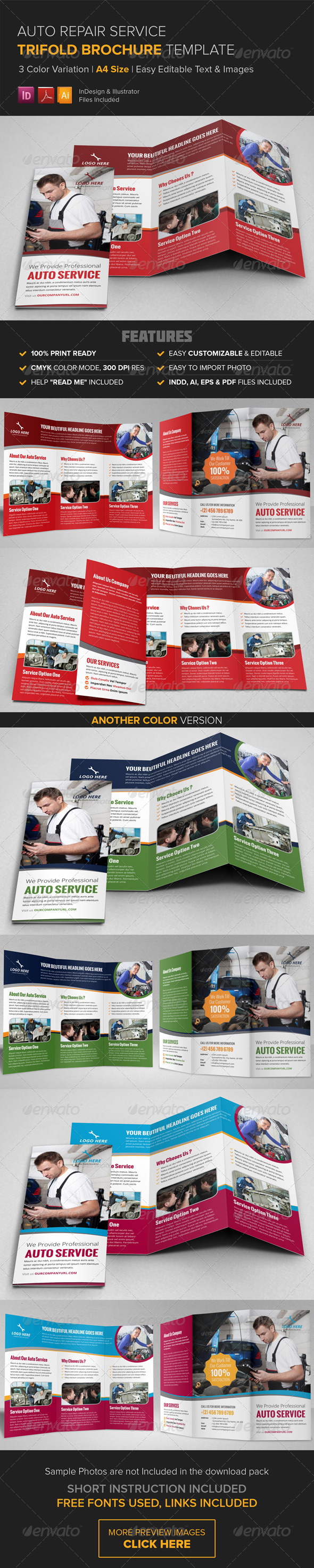 GraphicRiver Auto Repair Service Trifold Brochure Template 8752348