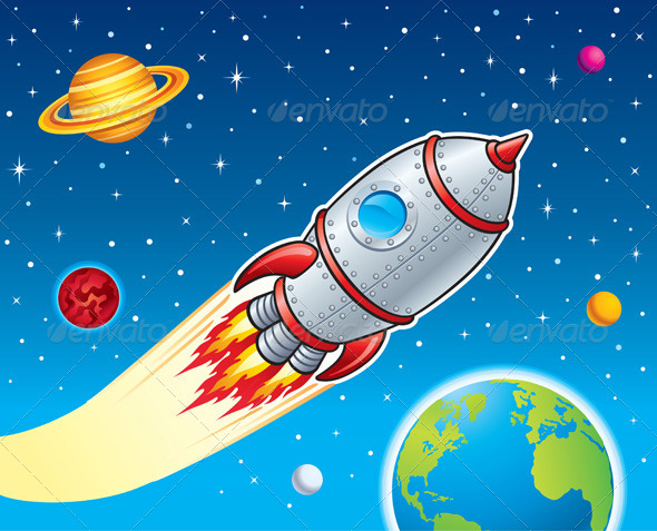 GraphicRiver Rocket Blasting Through Space 8752363
