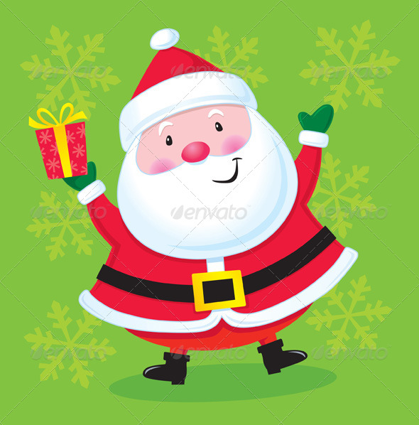 GraphicRiver Happy Santa with a Present 8752618