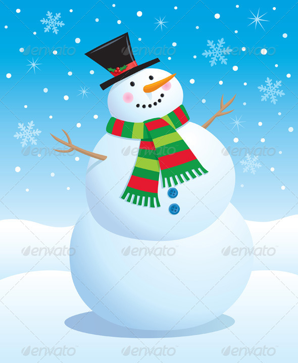 GraphicRiver Snowman with Top Hat and Scarf 8752953