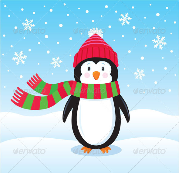 GraphicRiver Lonely Penguin Out in the Snow 8753109