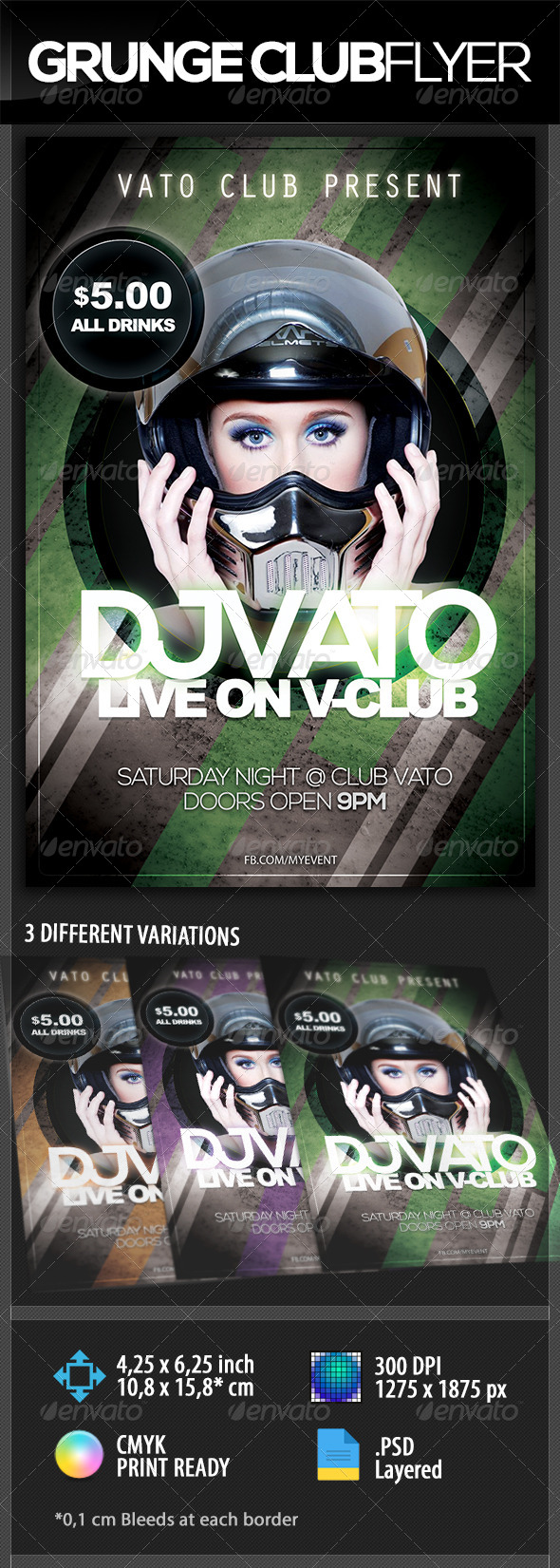 GraphicRiver Grunge Club Party Flyer 8752260