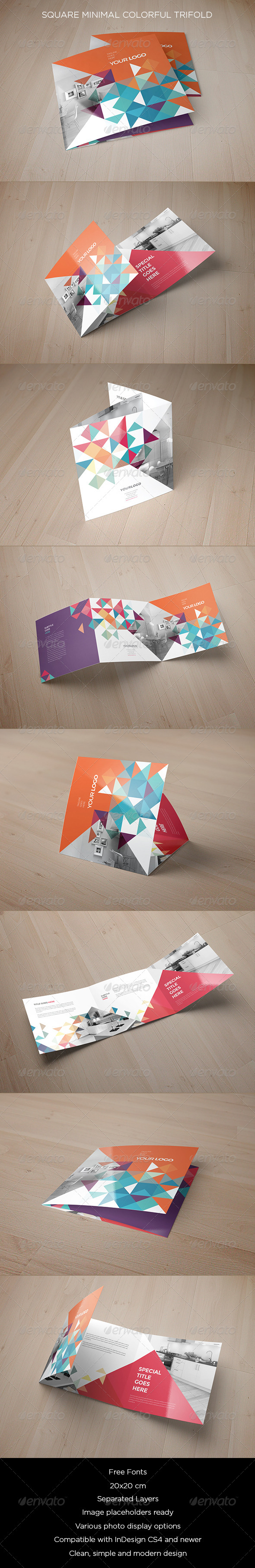 GraphicRiver Square Minimal Colorful Trifold 8753468