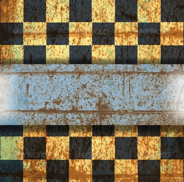 GraphicRiver Vintage Crack Old Scratched Empty Chess Board 8753675