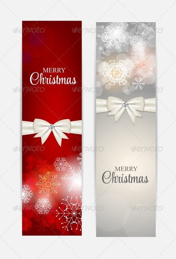 GraphicRiver Christmas Snowflakes Website Header and Banner Set 8754058
