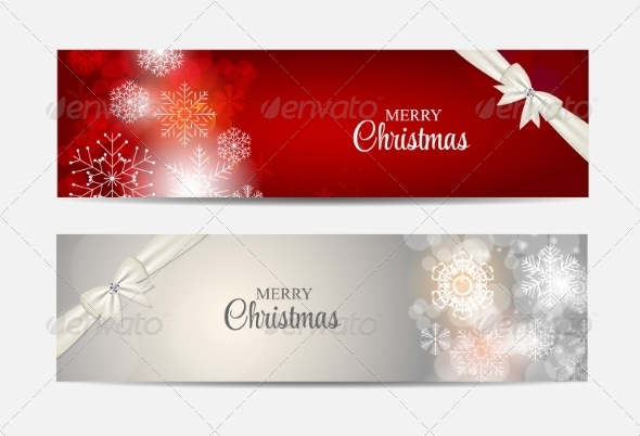 GraphicRiver Christmas Snowflakes Website Header and Banner Set 8754059
