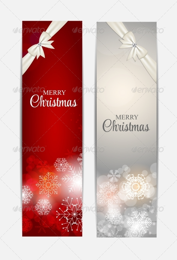GraphicRiver Christmas Snowflakes Website Header and Banner Set 8754060