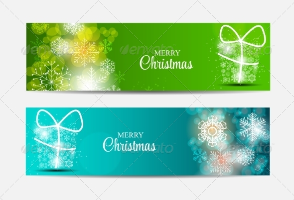 GraphicRiver Christmas Snowflakes Website Header and Banner Set 8754063