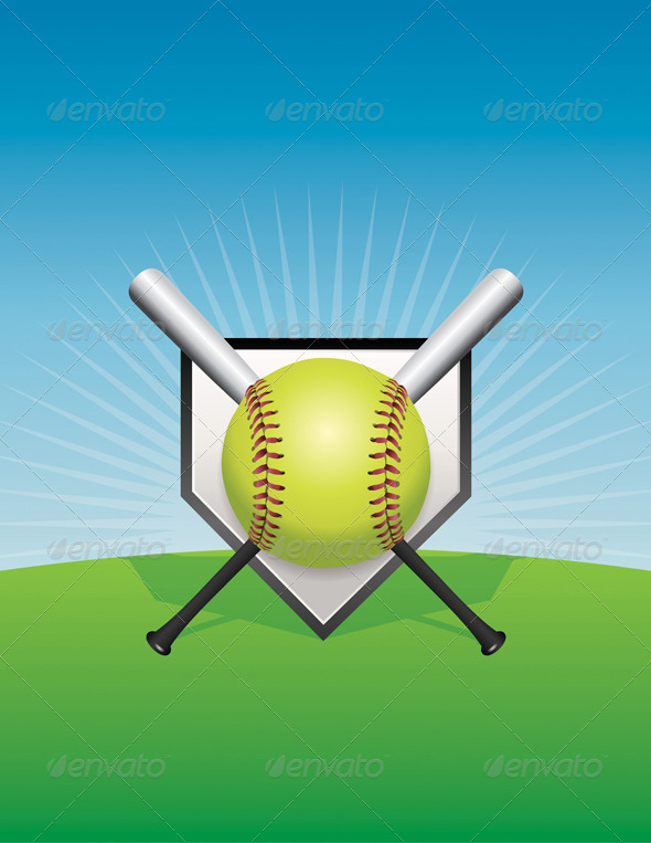 GraphicRiver Vector Softball Background Illustration 8754211