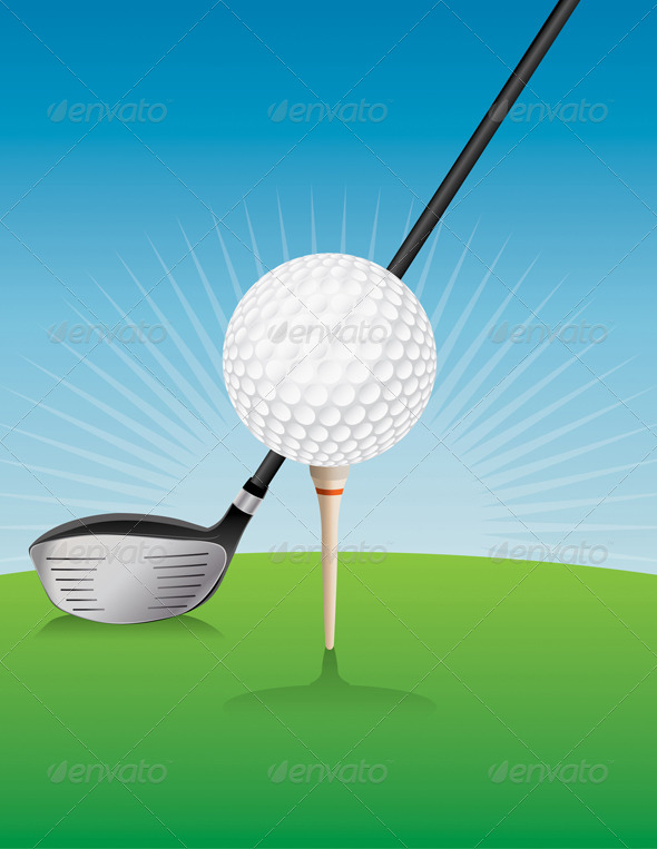 GraphicRiver Vector Golf Ball and Driver Illustration 8754238