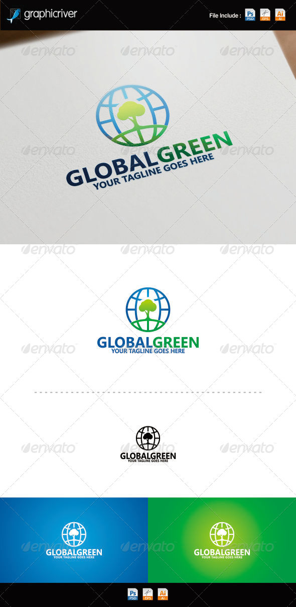 GraphicRiver Global Green Logo Template 8754244