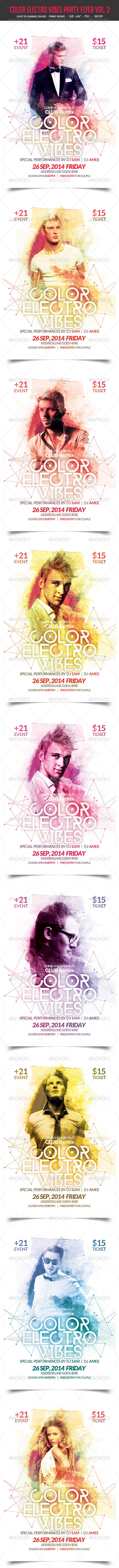 GraphicRiver Color Electro Vibes Party Flyer Vol 2 8754250