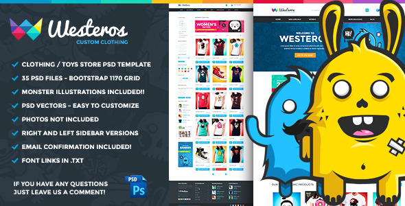 ThemeForest Westeros Custom Clothing PSD Template 8754402