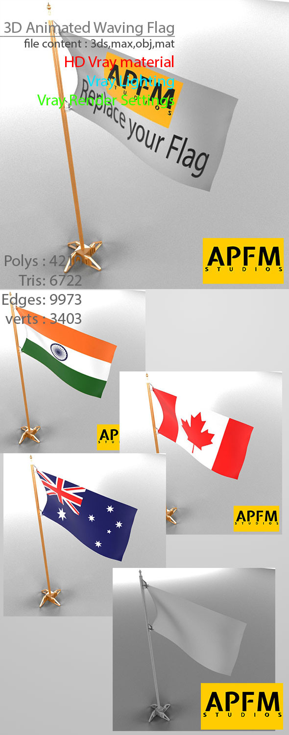 3DOcean 3D Animated Waving Flag 8754538