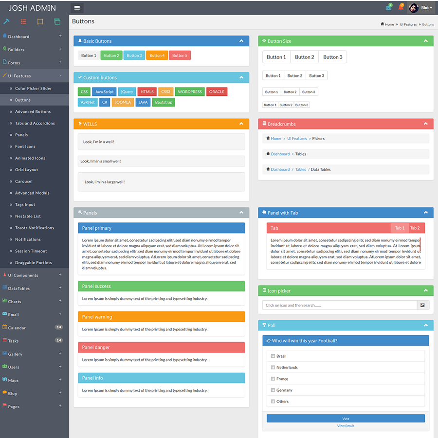 Josh Laravel Admin Template Front End Crud By