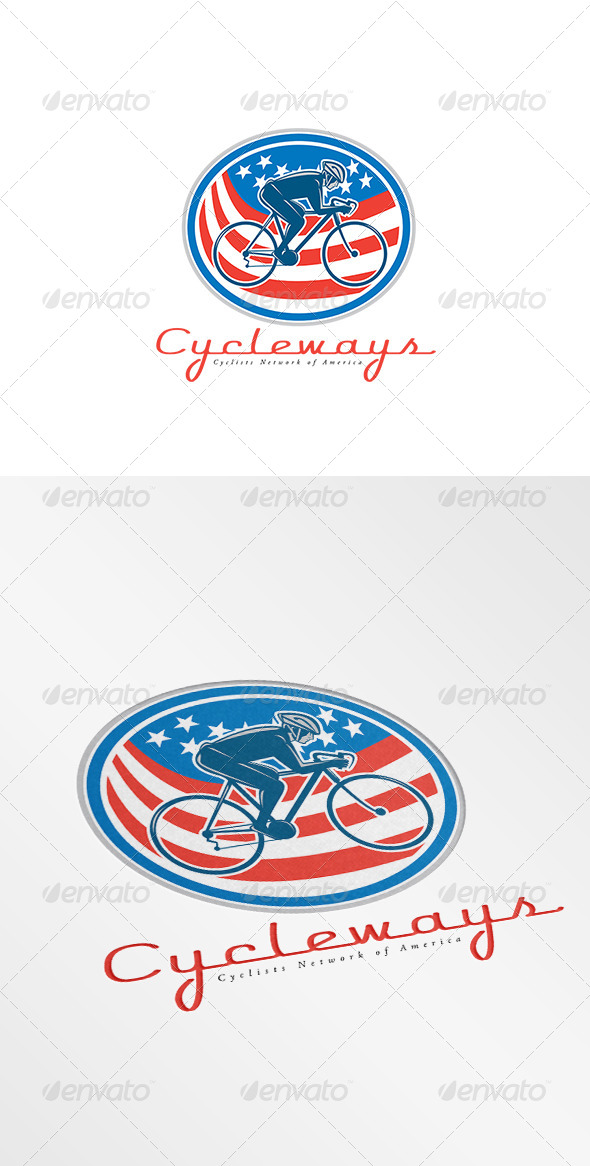 GraphicRiver Cycleways Cyclist Network American Logo 8754558