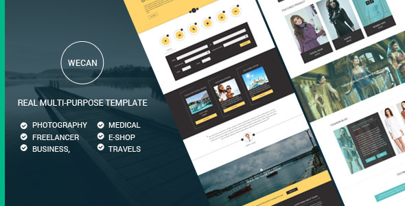 WeCan is a Unique Multi-purpose PSD Template. This Template is perfect suitable for any type of Business, Freelancer, Photography, Medical, Travel and E-Shoppin