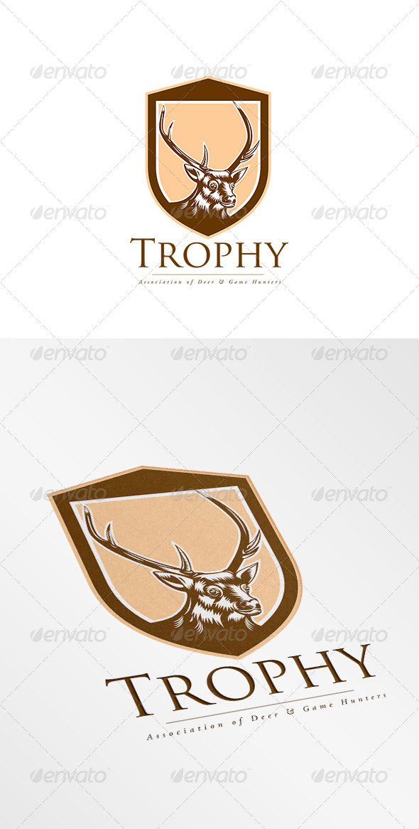 GraphicRiver Trophy Association Deer Hunters Logo 8754562