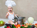 little baby in a chef's hat and ladle in hand - PhotoDune Item for Sale