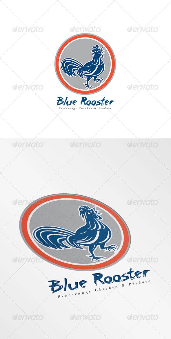 GraphicRiver Blue Rooster Free Range Chicken Logo 8754728
